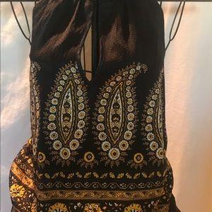 bebe Tops - BeBe Halter Top Size S Black Yellow Floral Silk